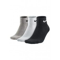 Nike Value Cotton Quarter Socls 3 Pack Chaussettes running - Gris