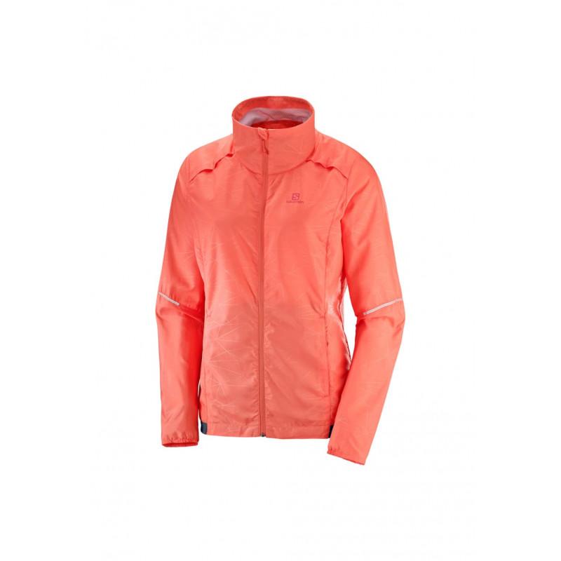 Salomon Agile Wind Jacket Vestes Course Pour Femme Rouge