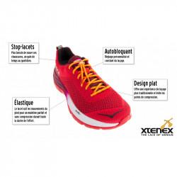 Paire de lacets plats XTENEX - vue du lacet installé sur une chaussure de running