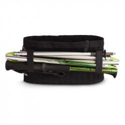 Test et avis de la ceinture/poche ventrale Sammie® Trail - vue de dos avec bâtons multibrins