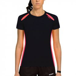 T-Shirt technique Runnek Wave femme - couleur Noir et rose acide
