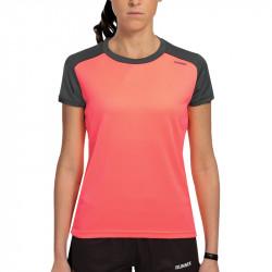 T-Shirt technique Runnek Limit femme - couleur corail fluo et couleur plomb