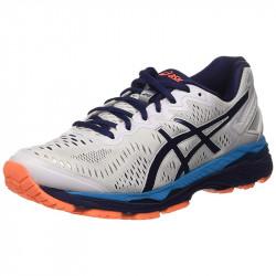 avis Asics Gel Kayano 23 M Chaussures running homme coloris Blanc Cassé (White/Indigo Blue/Hot Orange)