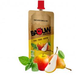 Compote energetique bio BAOUW poire-pomme-menthe