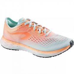chaussure KIPRUN KD light femme coloris orange corail fluo/Menthe pastel