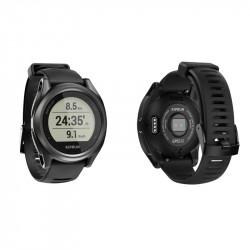 Montre KIPRUN GPS 550 - vue de face et de dos avec capteurs FC au poignet