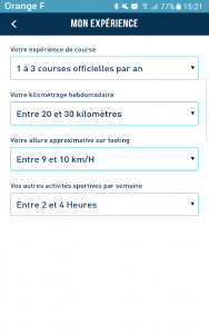 Copie d'écran de l'application FREQUENCE Running