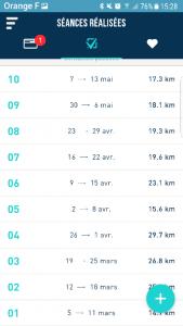 vue séances sur FREQUENCE Running par Margaux