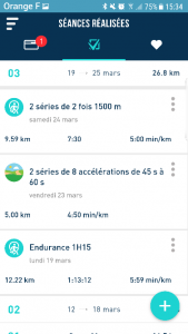 vue semaine type sur FREQUENCE Running par Margaux