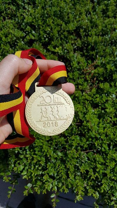 Médaille de finisher des 20 km de Bruxelles pour Margaux