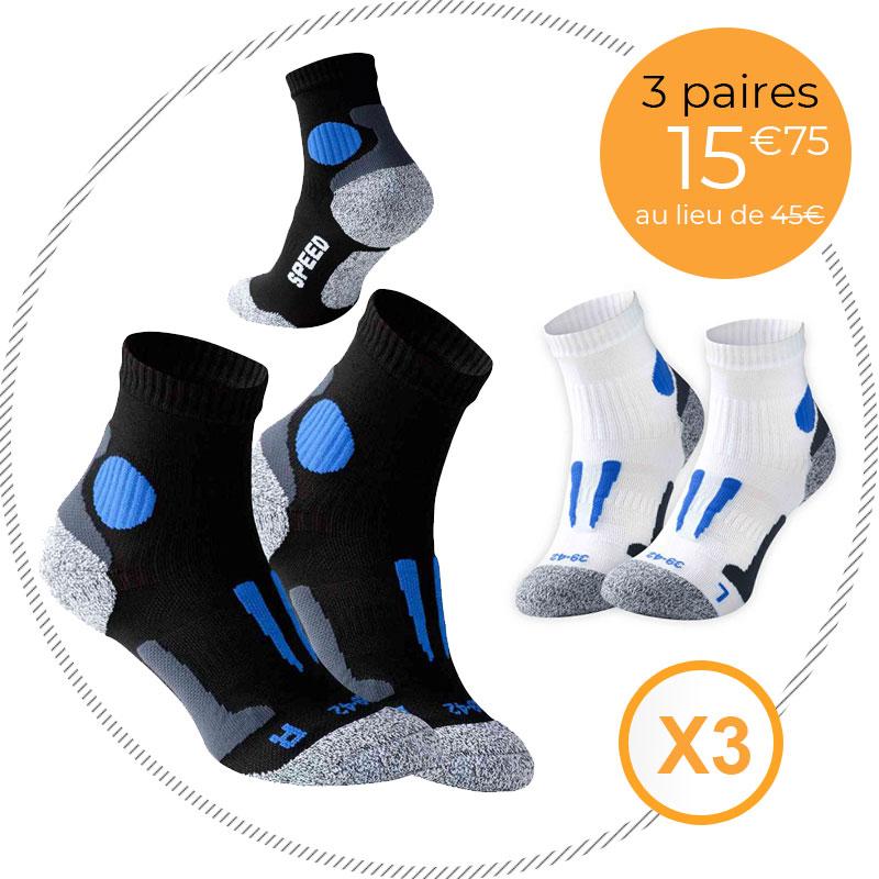 Pack 3 paires de chaussettes techniques pour le running